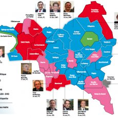 Carte post-élections 2014 de la Seine-Saint-Denis par l'UDI